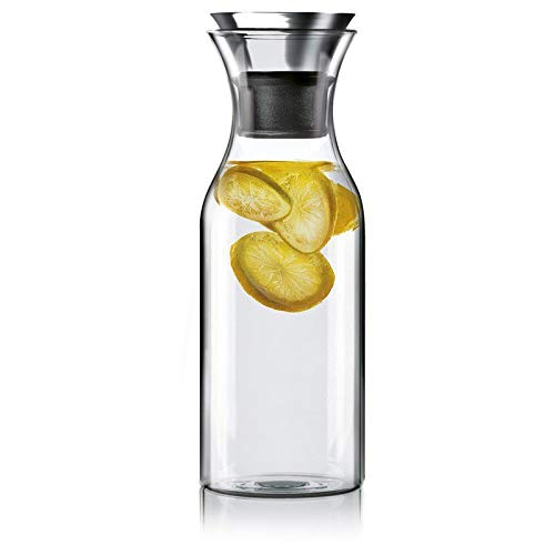 Hiware 35 Oz Glass Carafe with Stainless Steel Silicone Flip-top Lid - Glass Water Pitcher Fridge Ice Tea Maker