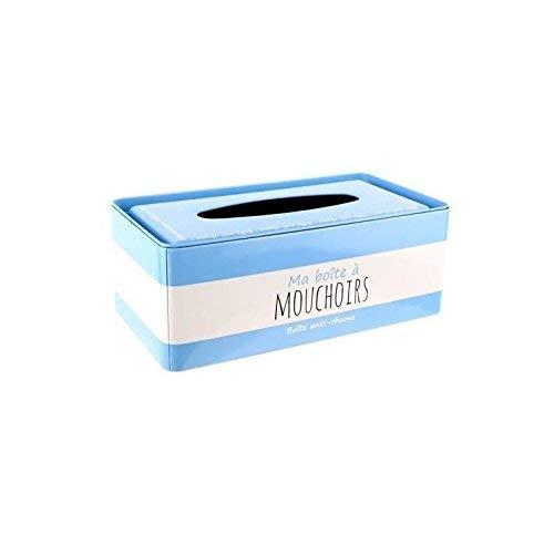 LA BOITE A BT6550 Boîte à Mouchoirs Métal Bleu 24,50 x 13 x 9,30 cm