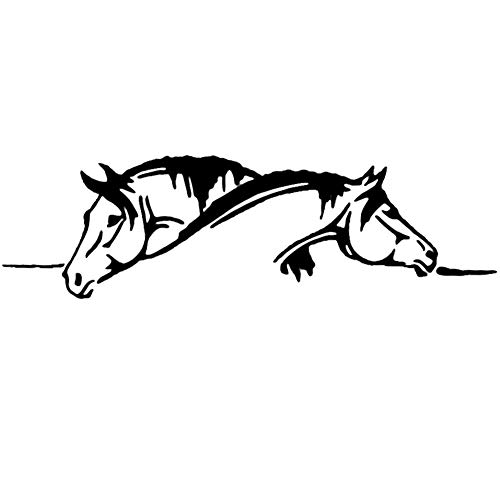 Porfeet Auto Aufkleber, Kreative Zwei Pferde Grafische Lustige Tier Reflektierende PET Auto Aufkleber Aufkleber Schwarz