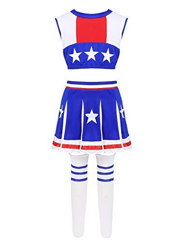 CHICTRY Traje de Danza Porrista Niñas 3Pcs Crop Top sin Mangas+Falda Plisada+Medias Disfraz Animadora 3-14 Años Azul 8-10 Años
