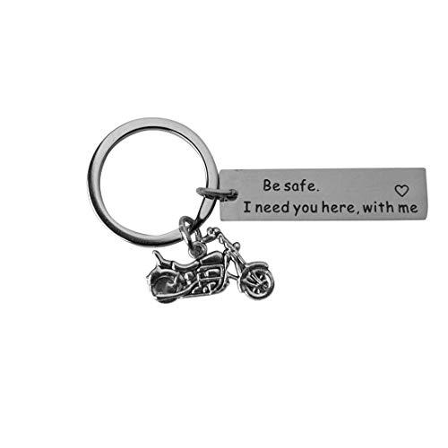 DonJordi Schlüsselanhänger Motorrad Biker BE SAFE I NEED YOU HERE WITH ME Geschenk aus Metall mit großem Schlüsselring
