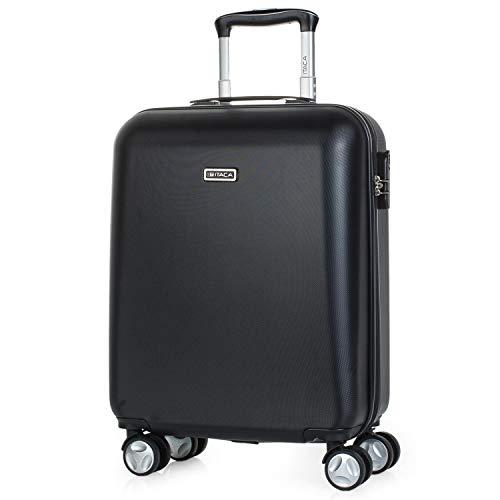 ITACA - Maleta de Viaje Cabina 55x40x20 cm 4 Ruedas Trolley ABS. Equipaje de Mano. Rígida Resistente y Ligera. Mango Asas Candado. Low Cost Ryanair. T58050, Color Negro