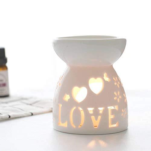 Okssud Lámpara de fragancia nocturna, quemador de aceite de esencia vela incienso aromaterapia estufa aceite difusor titular de luz de té titular (amor)