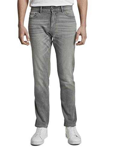 TOM TAILOR Herren Jeanshosen Josh Regular Slim Jeans Used Light Stone Grey Denim,34/32,10218,2500
