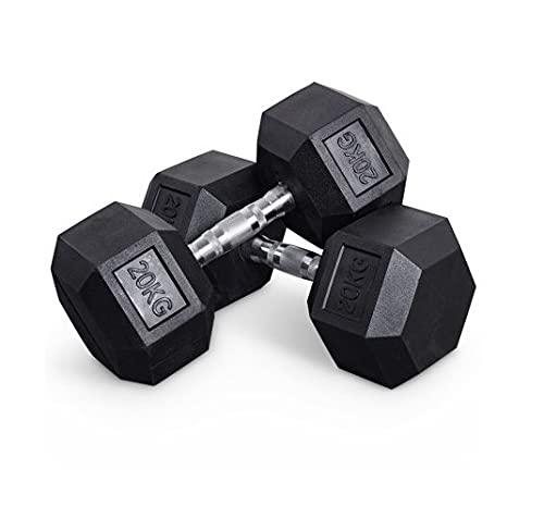 Generisch Hexagon Hantel gummiert bodenschonend Fitness und Krafttraining 20kg (einzeln)