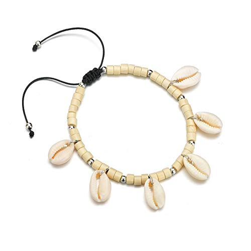 PLUS PO Shell Anklet Foot Chain Rope Anklet Indian anklets Hand-Woven Anklet Charm Anklet Natural Shell Anklet Creamy White Anklet Beach Shell Anklet