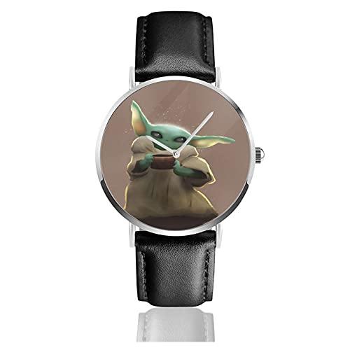Baby Yoda Star The Wars Relojes Reloj de Cuero de Cuarzo con Correa de Cuero Negro para Hombre, Mujer, colección Joven, Casual de Negocios