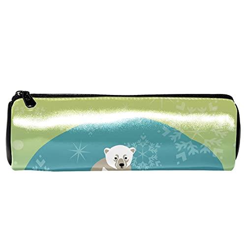 Polar Bear - Estuche para lápices de familia y bebé, bolsa de almacenamiento, organizador de cosméticos para la escuela, adolescentes, niñas, niños, hombres y mujeres