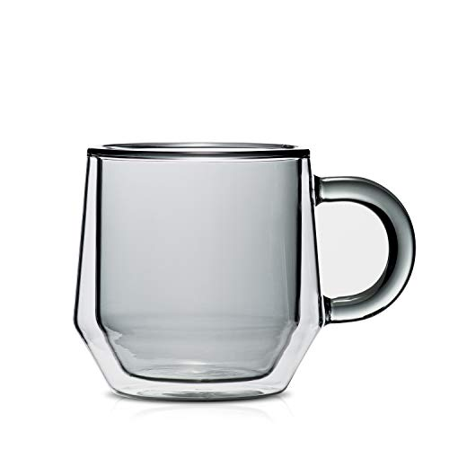 Hearth I 2 doppelwandige Glas-Kaffeetassen mit Griffen, 170 ml, Rauchglas, isoliert, für Nespresso Lungo, entworfen in den USA von Espresso Parts