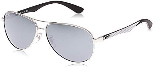Ray Ban Unisex Sonnenbrille, RB8313 003/40 61, Gr: 61, Schwarz (Gestell: silber Glas: grau verspiegelt 003/40)