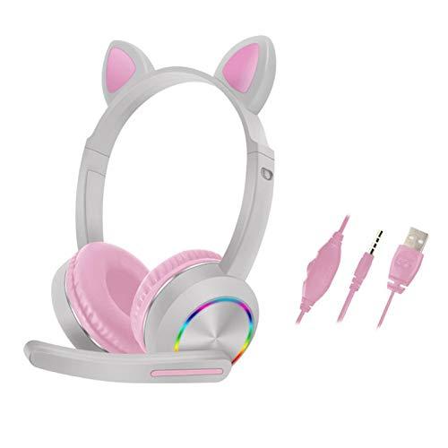 POHOVE Katzenohr-Kopfhörer, LED-Licht, kabelgebundene Kopfhörer, niedliche On-Ear-Kopfhörer, geräuschunterdrückende Katzen-Kopfhörer mit Mikrofon, Kinder-Kopfhörer für Smartphones, PC, Tablet