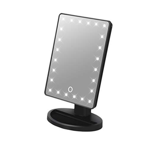 Lurrose 24 LED make-up spiegel cosmeticaspiegel touchscreen make-up spiegel USB aangedreven make-up spiegel (zwart / zonder batterij)