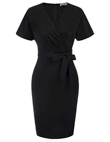 GRACE KARIN Vestiti Tubino Donna Elegante Bodycon Manica Corta con Cintura Scollo a V Kimono Nero CL0025S21-2