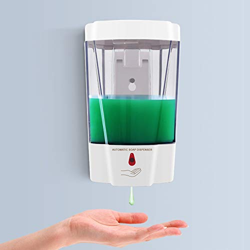Automatic Soap Dispenser, Fully Transparent Hand Sanitizer Dispenser Wall Mounted, 700ml Premium Touchless Soap Dispenser, Hand Free ,for Bathroom Kitchen Office Toilet Hotel, Battery Operated(White)