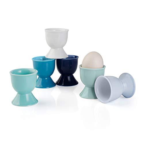 Sweese 805.003 6er Eierbecher Set aus Porzellan, Eierstnder für Jeden Frühstückstisch, 5 x 5 x 4 cm, Blaue Serie