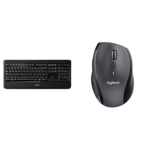 Logitech K800 Wireless Illuminated Keyboard — Backlit Keyboard, Dropout-Free 2.4GHz Connection & M705 Marathon Wireless Mouse – Long 3 Yr Battery Life, Ergonomic Sculpted Right-Hand Shape, Dark Gray