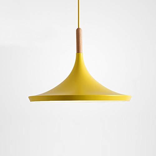 Lampadari in legno massello nordico, lampadario moderni a soffitto in alluminio a LED per bambini lampada a sospensione a forma di cartone animato luce pendente (colore : Giallo)