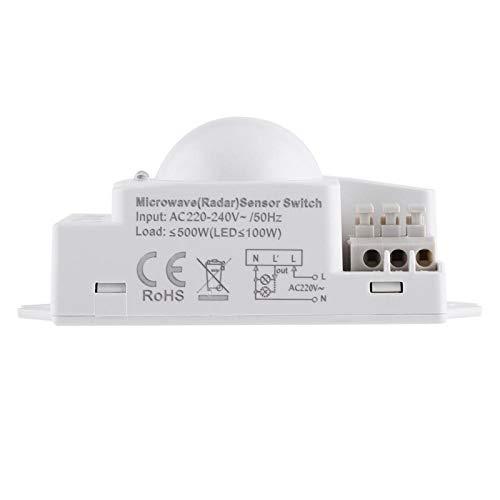 1pc 360 grados 500W Radar LED Detector de movimiento Sensor de microondas inteligente Función Control de señal Interruptor de luz