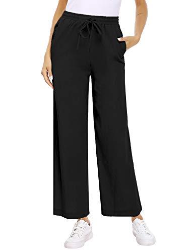Akalnny Pantalones de Lino Mujer Pantalón con Cordón de Cintura Elástica Casual Pantalones de Verano con Bolsillo(Negro, S)