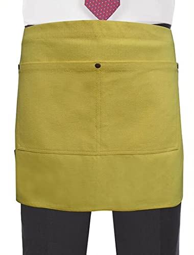 Leather Apron Company MBR037-CA-YELLOW - Delantal de tela de arpillera con bolsillos para restaurante, bar, jardinería, hostelería