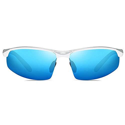 TYXL Sunglasses Nuevas Gafas De Sol Polarizadas De Aluminio Brillante De Magnesio UV400 Trend Brown/Plateado/Azul/Marrón Gafas De Sol for Hombre (Color : Blue)