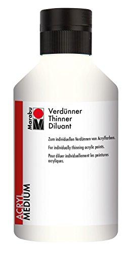Marabu 12290013859 - Verdünner, dünnflüssiges Acryl - Malmittel auf Wasserbasis, zum individuellen Verdünnen von Acrylfarben, 250 ml, transparent