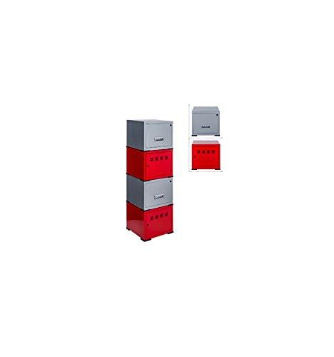 Cubes de rangement : 2 cubes à porte fuchsia + 2 cubes à tiroirs blanc