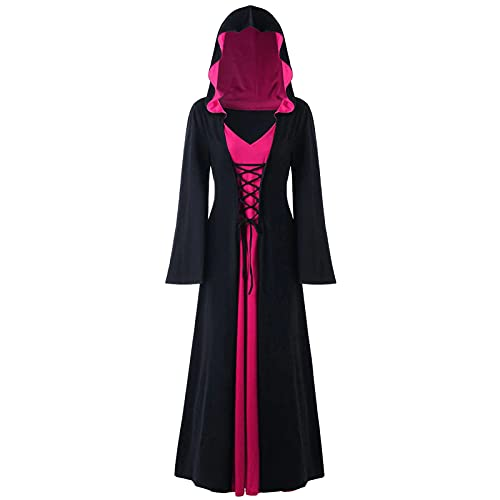 KLPHGM Witch Vampire Dress, Vampire Costume Adult Women, Gothic Cosplay Dress Hooded Vintage Medieval Floor Length (D,4XL)