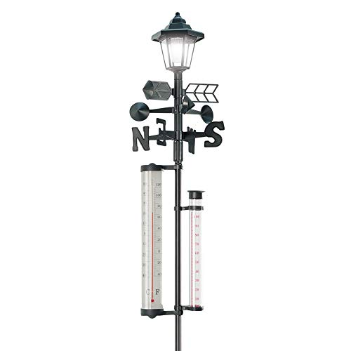 60 #039#039 Tall AllInOne Solar Weather Station with Solar Powered Light  Measures Snow Rain and Wind Speeds