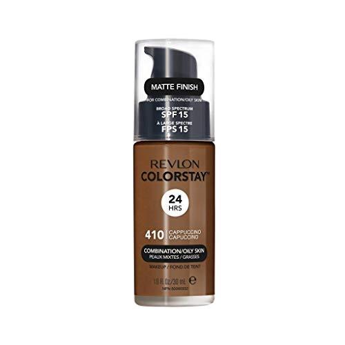 Revlon ColorStay Liquid Foundation Makeup for Combination/Oily Skin SPF 15, Longwear Medium-Full Coverage with Matte Finish, Cappuccino (410), 1.0 oz
