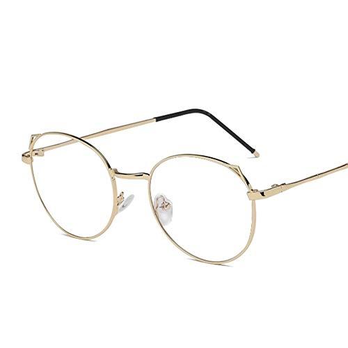 MTYJ Lesebrille Frauen Männer Anti Blaulicht Ray Brille Katzenohr Metallrahmen Brille Optische Brille Dioptrie + 1.0~4.0 -6.9.3 (Color : Gold, Size : 0 Anti Blue Ray)