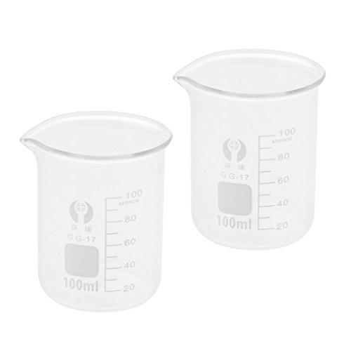 2St Labor Becherglas Borosilikatglas Messbecher Maßstab Becherglas - klar 100ml