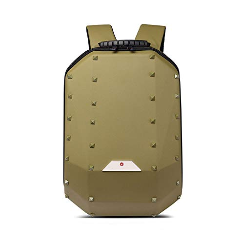 WHSS Outdoor Backpack Solid Color Rivet Geometry Backpack Men's Personality Casual Portable Backpack Large Capacity Travel Computer Bag Female Outdoor Sports Riding Bag (Color : Gold)