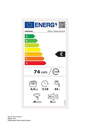 Samsung Lavatrice Slim WW6NJ42E0LW Ecolavaggio; Front Load, 6 kg, Bianco