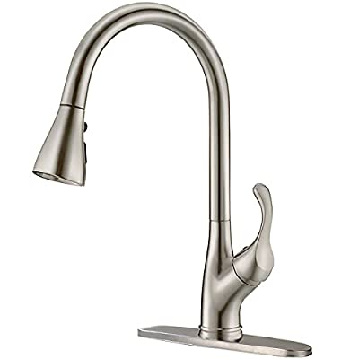APPASO K123 Series Pull Down Single Handle Stainless Steel Kitchen Faucet with Sprayer, Brushed Nickel High Arc Pull Out Spray Head Kitchen Sink Faucets with Deck Plate