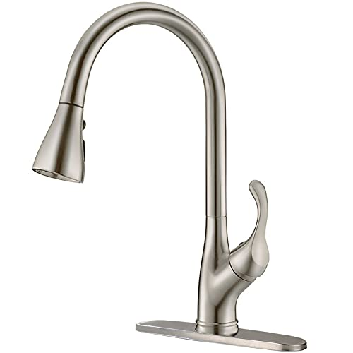 APPASO Pull Down Kitchen Faucet with Sprayer Stainless Steel Brushed Nickel - Single Handle Commercial High Arc Pull Out Spray Head Kitchen Sink Faucets with Deck Plate, Grifos De Cocina