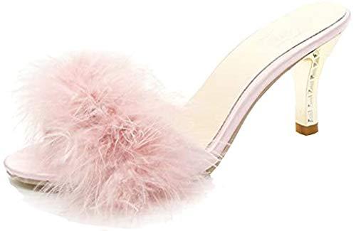FreLO Women's Plush Kitten Heels Flurry Slippers Fuzzy Slippers (7.5, Pink)