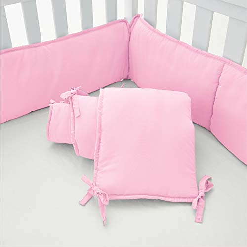 EXQ Home 4-Piece Baby Safe Crib Bumper Pads for Standard Cribs,Breathable Soft Microfiber Polyester Crib Liner Thick Pad,Machine Washable Mesh Bumpers Padded Protector for Nursery Bed(Pink)
