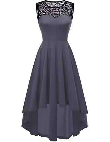 YOYAKER Damen Vintage Rockabilly Kleid Rundhals Ärmellos Cocktailkleid Elegant Spitzenkleid Vokuhila Festliche Party Abendkleider Grey M