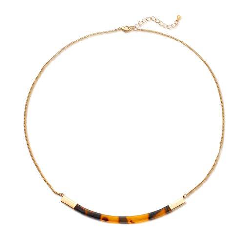 Leiouser - Collar de concha de tortuga de acrílico marrón, collar de resina moteada