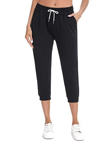 Sykooria 3/4 Pantaloni Donna Pantaloni Corti Estivi con Tasca, Dimagranti da Donna Pantaloni di Vita Alta per Palestra Ballo Correre Nero XL