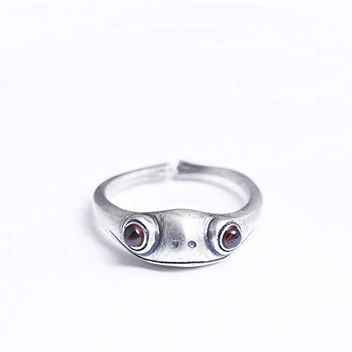 QSCVDEA Personalidad Creativa Diseño Anillo cornalina Mujer Apertura Príncipe de la Rana Anillo Retro Ajustable (Color : Silver)