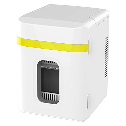 AIISHY 10L Mini Refrigerador de Coche, Mini portátil para el Cuidado de la Piel Cosméticos Alimentos Fruta Dormitorio Cuidado de la Piel Refrigerador pequeño, para Oficina en casa,Amarillo