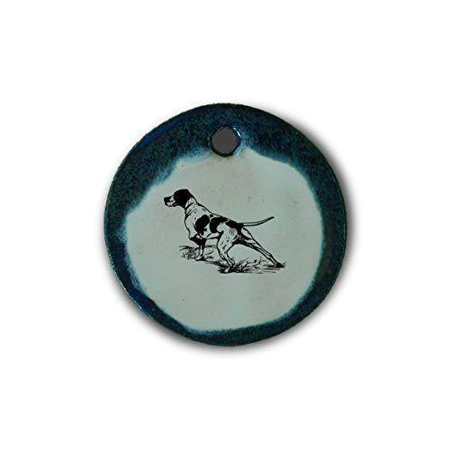 """Muy bonito colgante de cerámica """"perro"""" jaspeado en azul;"""