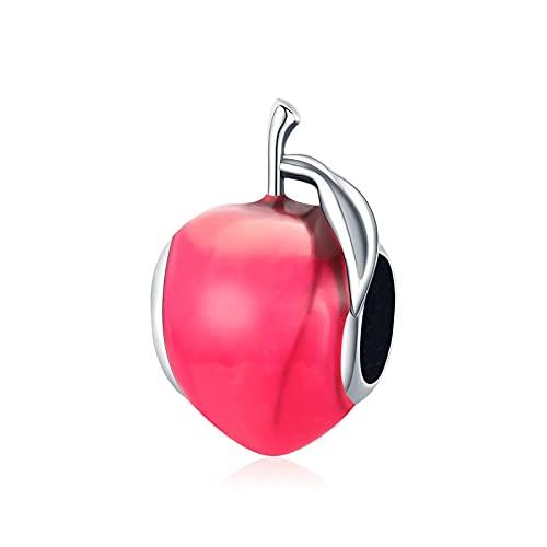 Regalo para Mujer Cuentas De Plata De Ley 925 Esmalte Rojo Abalorios De Fruta De Manzana Colgante De Cuentas Pulseras Collares con Cuentas Fabricación De Joyas DIY