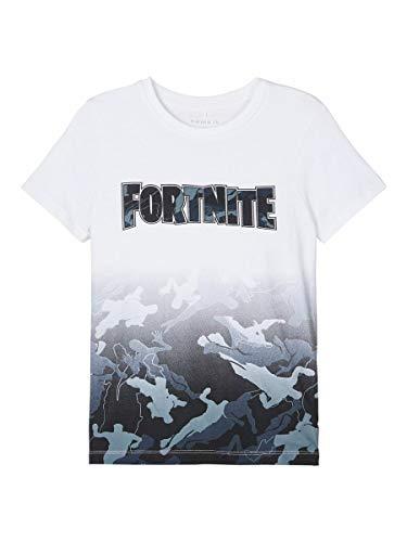 NAME IT Nkmfortnite Grey SS Top Box Noos LIC Camiseta, Blanco Brillante, 134-140 cm para Niños