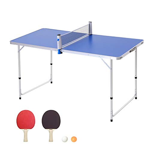 Outsunny Mesa de Ping-Pong Plegable Altura Ajustable en 3 Niveles Multifuncional Mesa de Picnic con Palas y Pelotas de Pin Pon 160x80x54/62/70cm Carga Máxima 30kg ⭐