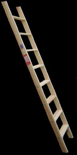 Premium Hochbettleiter Holz 6-stufig als Stufenanlegeleiter formschön für senkrechte Höhe von 1,47 m