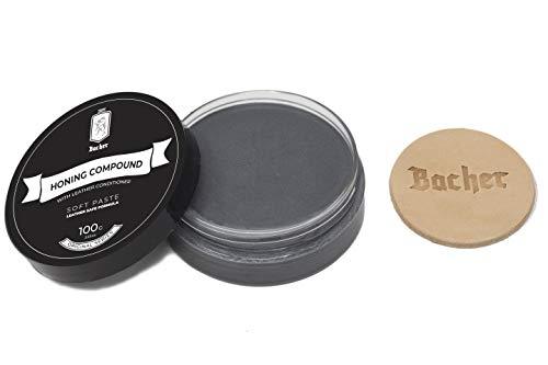 BACHER Polierpaste für Lederstreifen. Abziehpaste mit Leder Applikator 100g - Ultrafein
