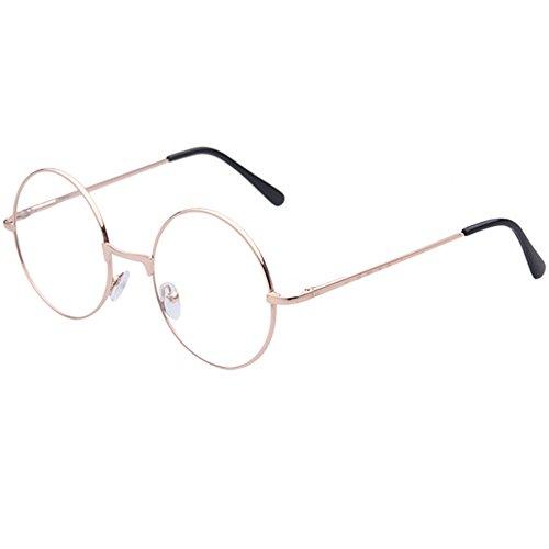 TRIXES Brille mit Rundgläsern in Kupfer- Beatles Retro Sechziger Jahre Stil Klarglas Gläser - Runde Brille als Kostümergänzung Cosplay Retro-Partys Geek Gläser Zubehör zum Anziehen - Klassische Vintag